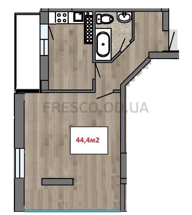 Однокомнатная - ЖК Клубный 7$41413Площадь:44,4m²