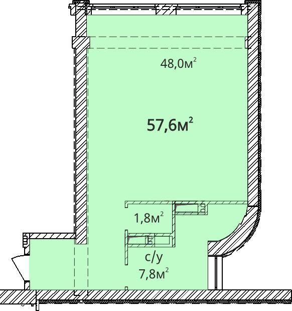 Однокомнатная - ЖК ОрионПроданаПлощадь:57,5m²