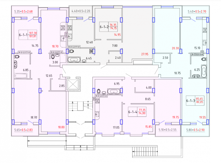 ЖК SMART CITY (Смарт Сити) 6 секция ЭЛИТ 1-4 этаж