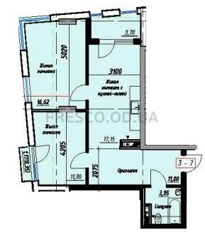 Двухкомнатная - Пространство на Раскидайловской$49050Площадь:65,4m²
