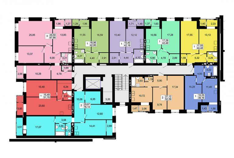 жк Чайка на Сахарова 7 секция типовая планировка