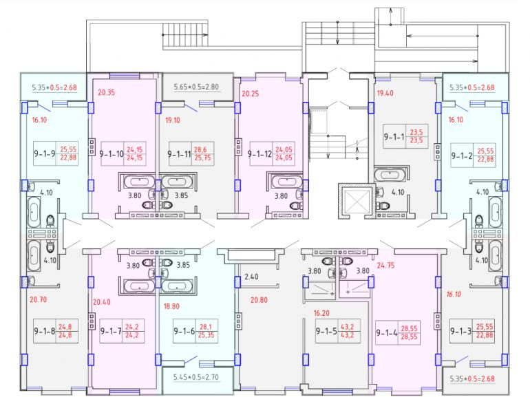 ЖК SMART CITY (Смарт Сити) 9 секция СМАРТ 1-4 этаж