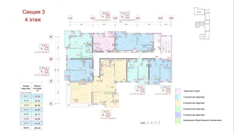 Клубный дом Пространство на Неделина секция 3 план 4 этажа