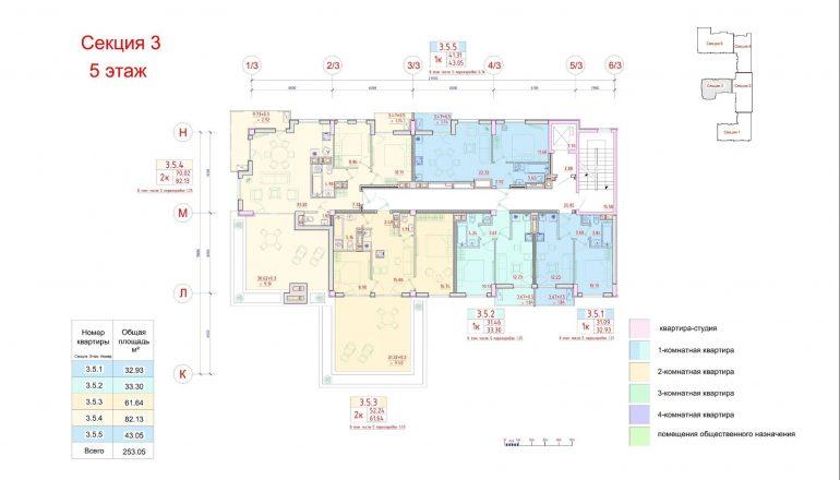 Клубный дом Пространство на Неделина секция 3 план 5 этажа