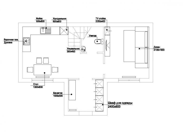 КГ Академический коттедж 84/1 план 1-го этажа