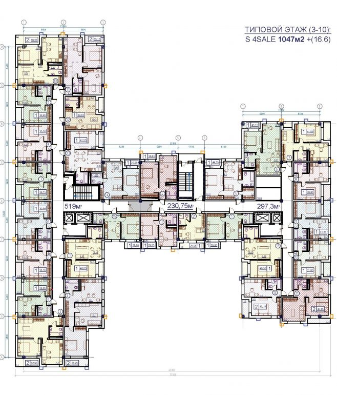 ЖК на Гераневой типовой план этажа
