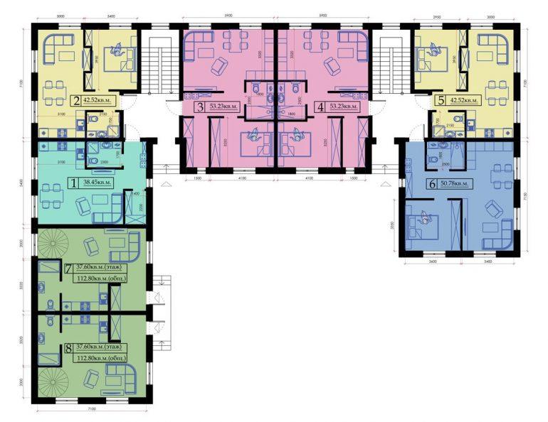 Клубный дом «Малый Марсель» типовой план этажа