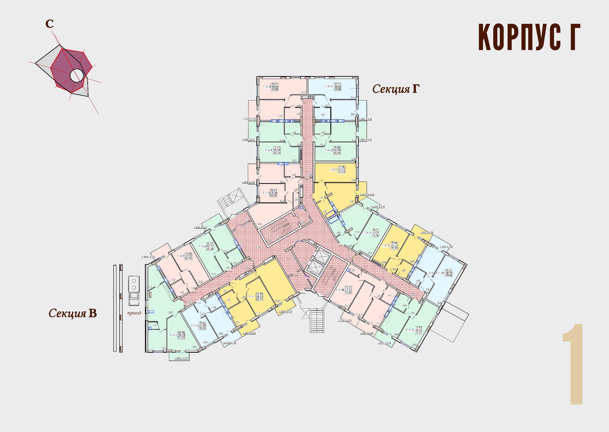 ЖК Континент Секция Г план 1 этажа