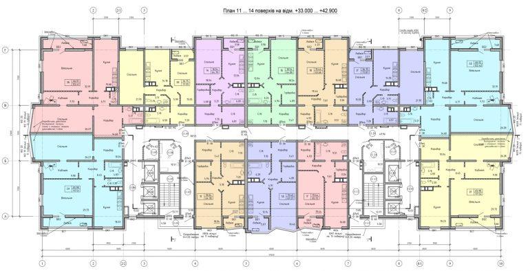 Олимпийский Комплекс апартаментов план 11-14 этажа