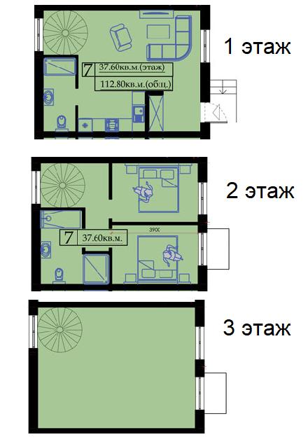 Четырехкомнатная - Клубный дом «Малый Марсель»$94500Площадь:115,2m²