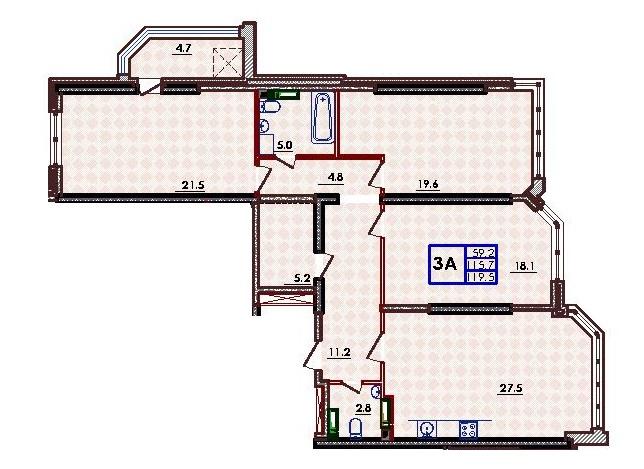 Трехкомнатная - ЖК Волна$69720Площадь:116,2m²