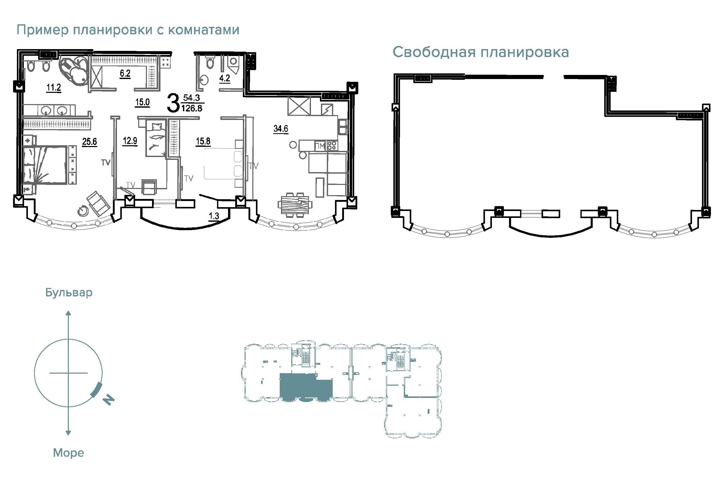 Двухкомнатная - Клубный Дом BIARRITZ (Биарриц)$291640Площадь:126,8m²