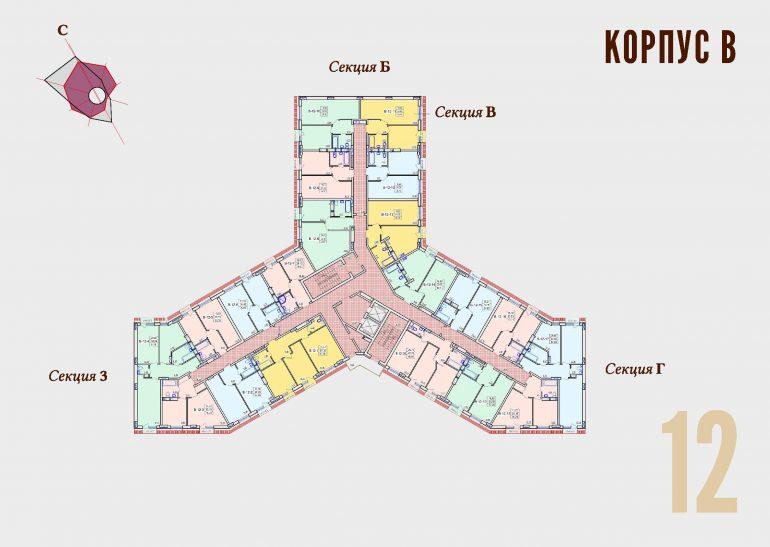 ЖК Континент Секция В план 12 этажа