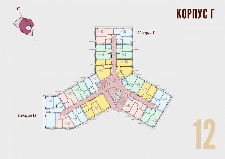 ЖК Континент Секция Г план 12 этажа