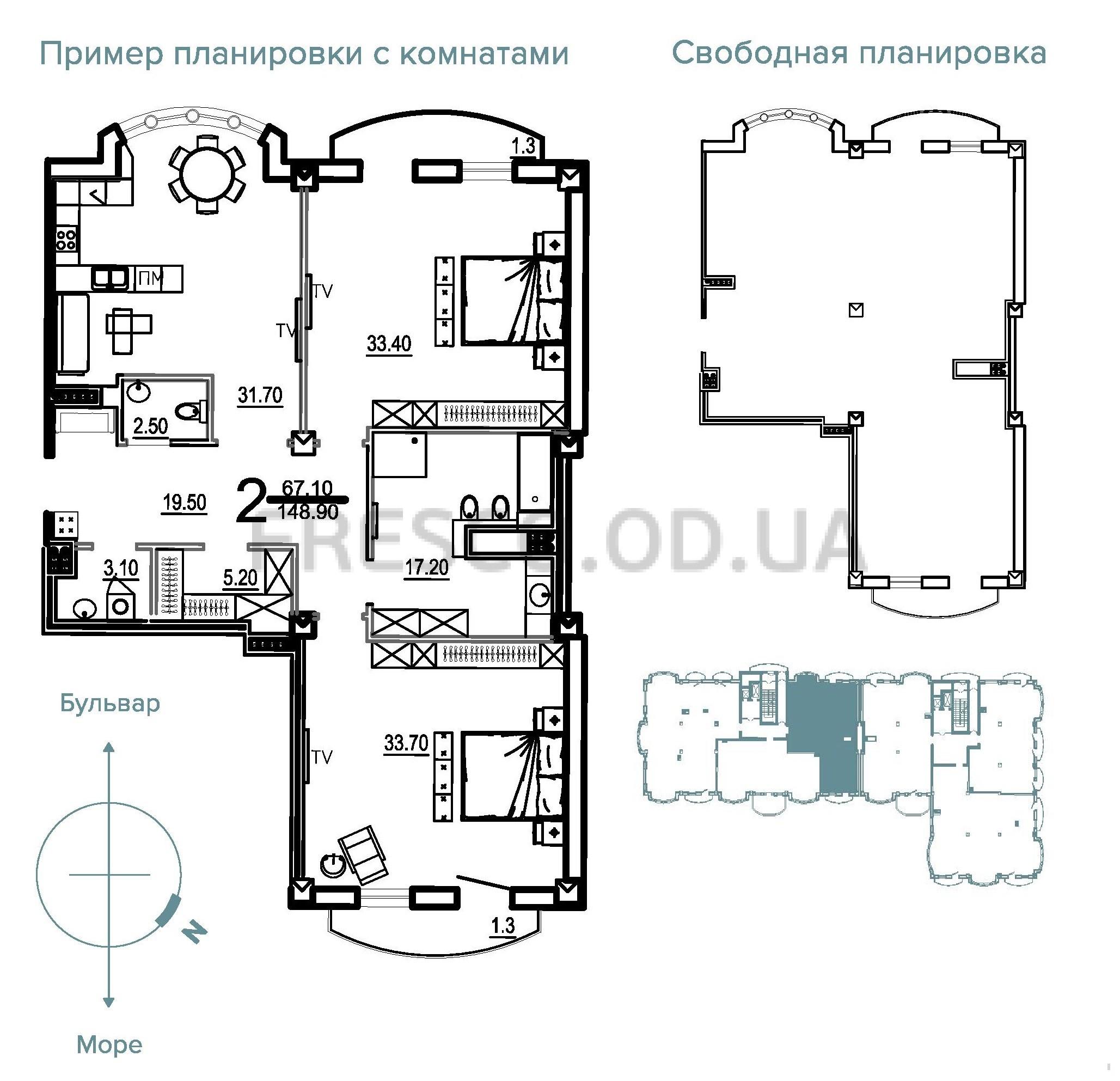 Двухкомнатная - Клубный Дом BIARRITZ (Биарриц)$268020Площадь:148,9m²
