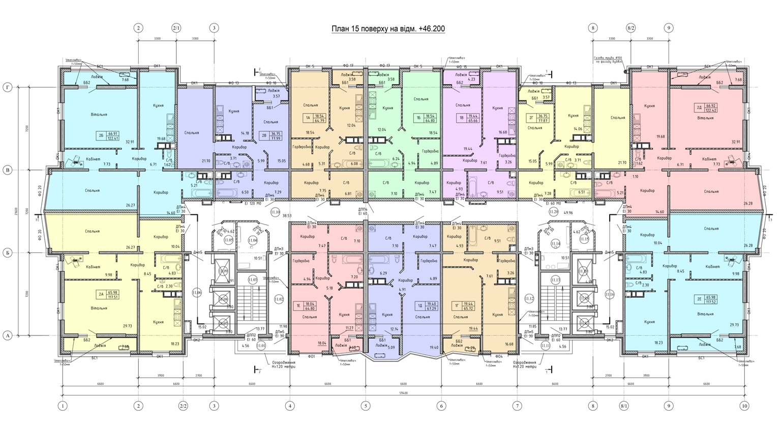 Олимпийский Комплекс апартаментов план 15 этажа