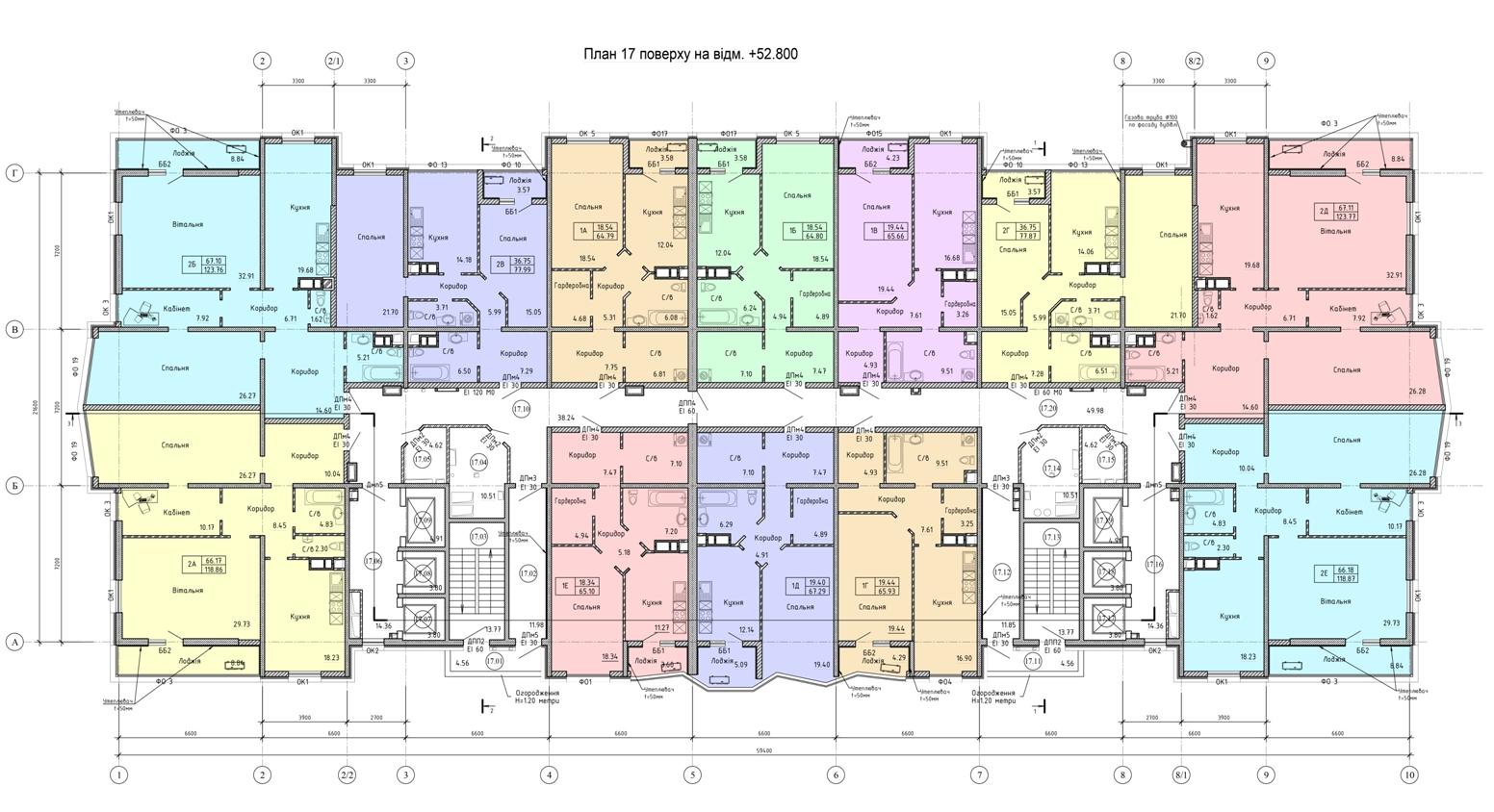 Олимпийский Комплекс апартаментов план 17 этажа
