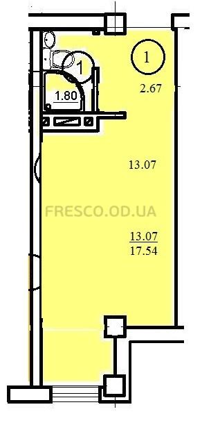 Однокомнатная - ЖК Одесский двор$12500Площадь:17,54m²