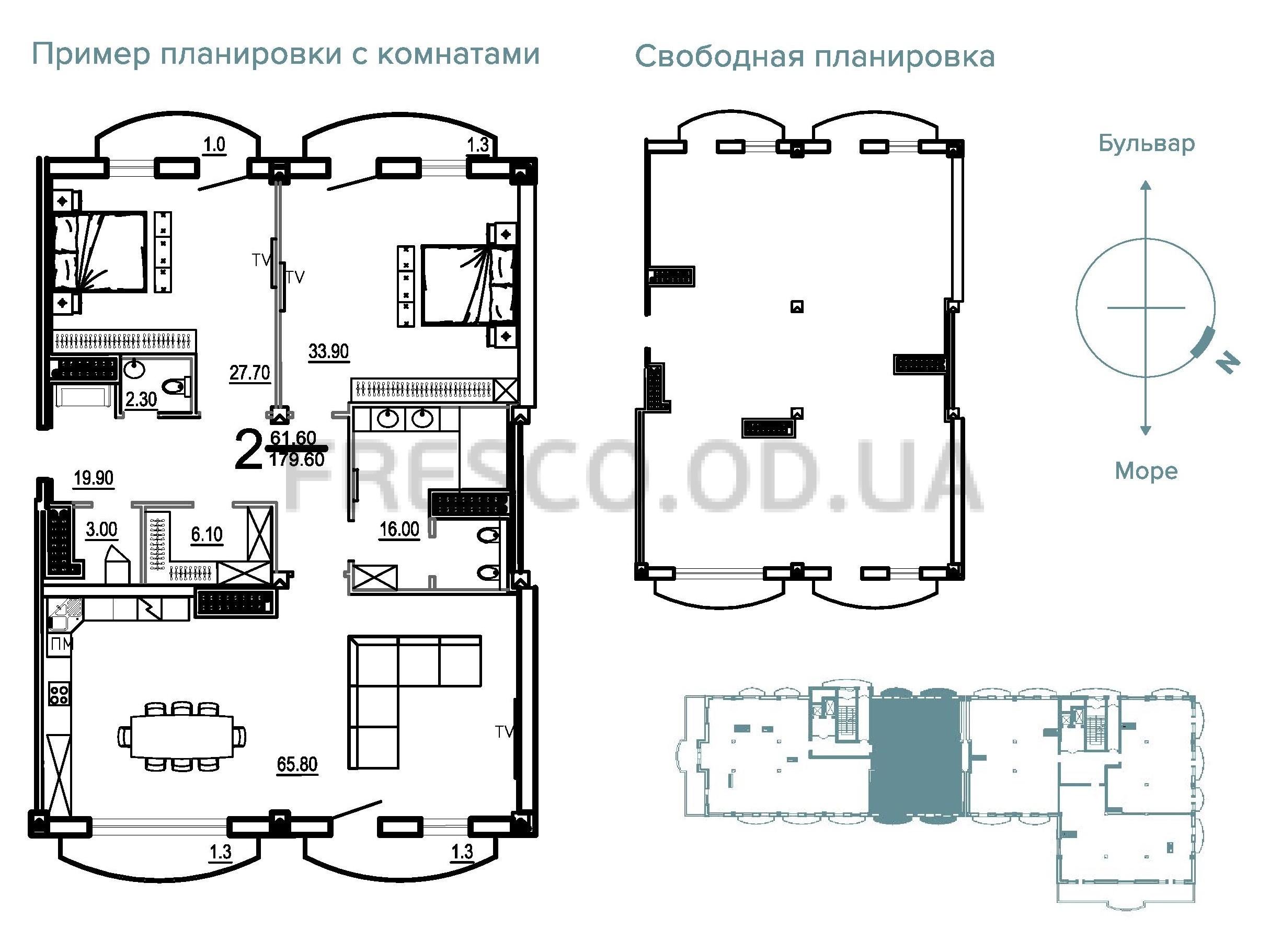 Двухкомнатная - Клубный Дом BIARRITZ (Биарриц)$628600Площадь:179,6m²