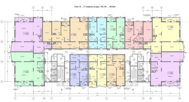 Олимпийский Комплекс апартаментов план 18-27 этажа