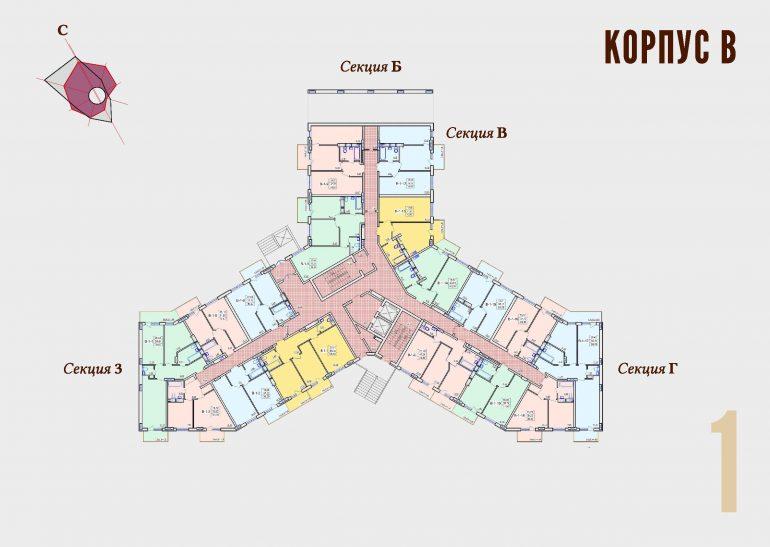 ЖК Континент Секция В план 1 этажа