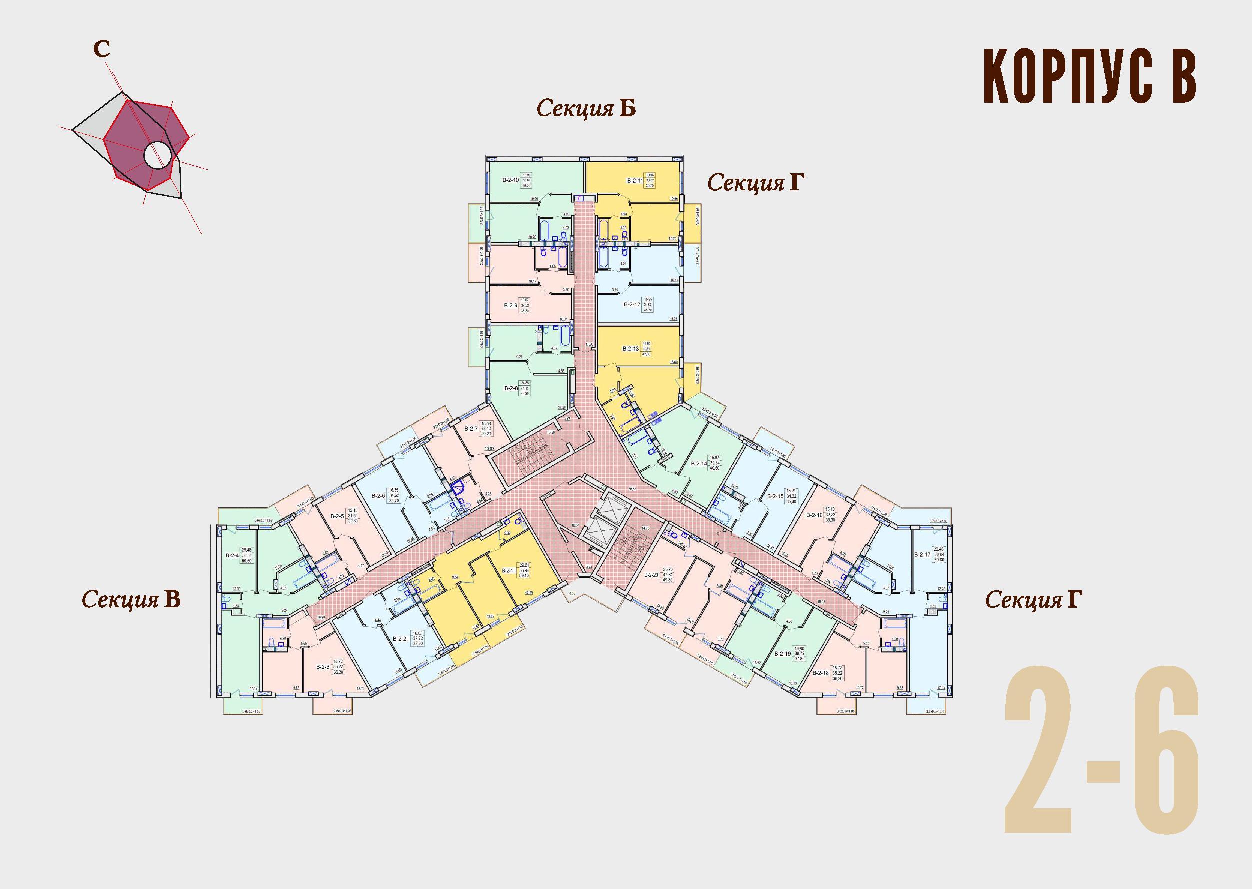 ЖК Континент Секция В план 2-6 этажа