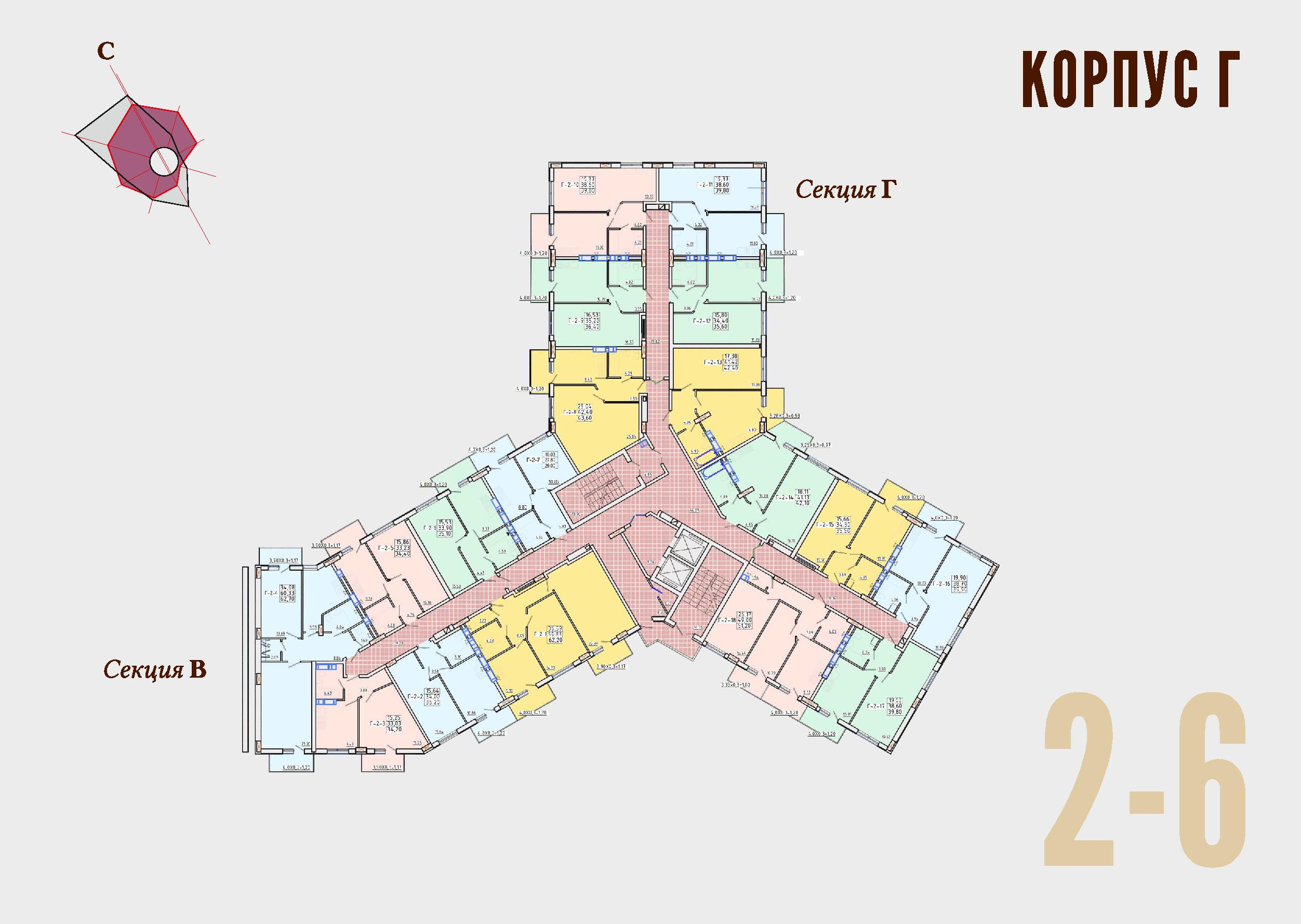 ЖК Континент Секция Г план 2-6 этажа