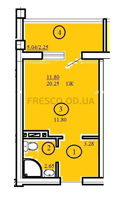 Однокомнатная - ЖК Одесский двор$14500Площадь:20,25m²