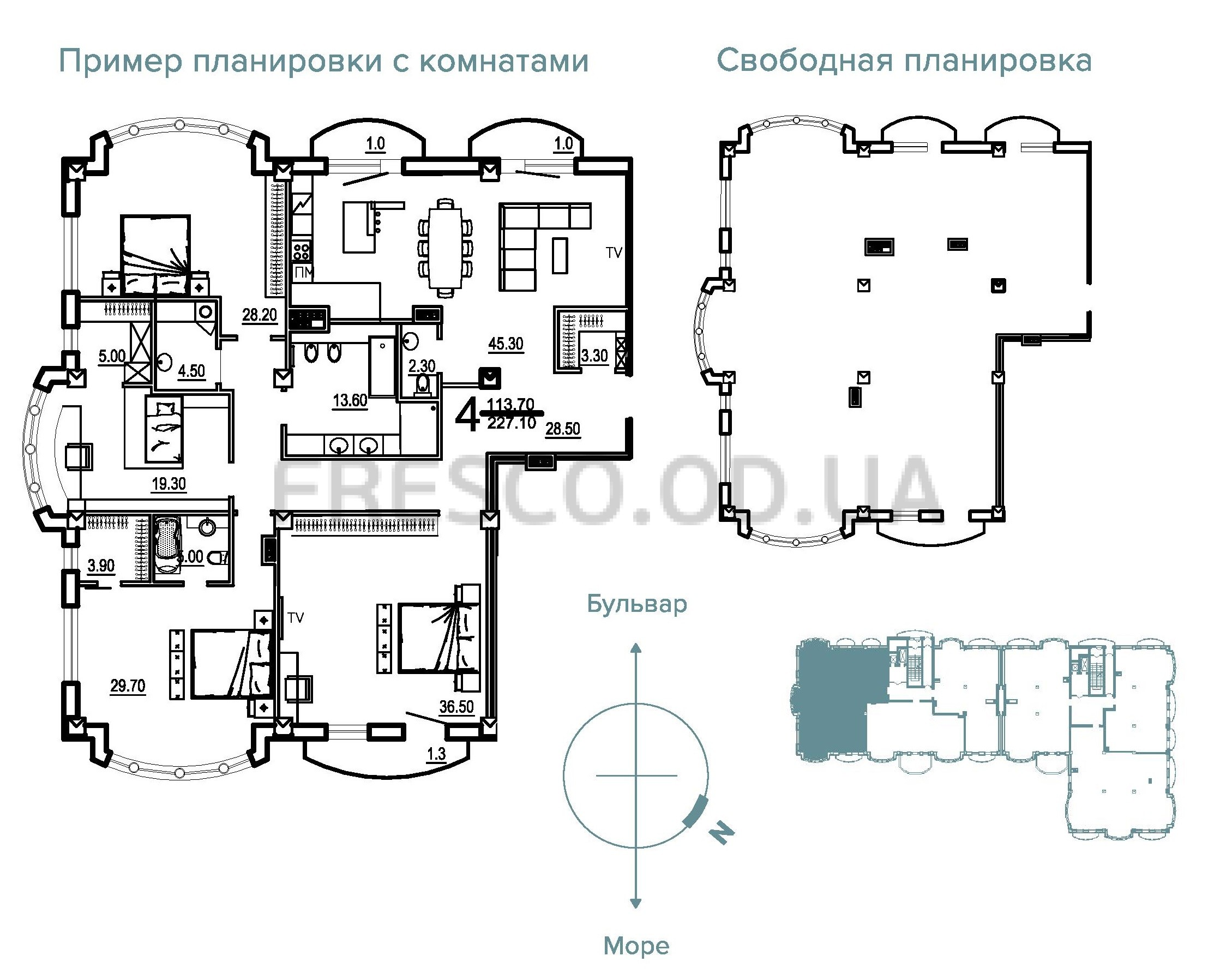 Четырехкомнатная - Клубный Дом BIARRITZ (Биарриц)$408780Площадь:227,1m²
