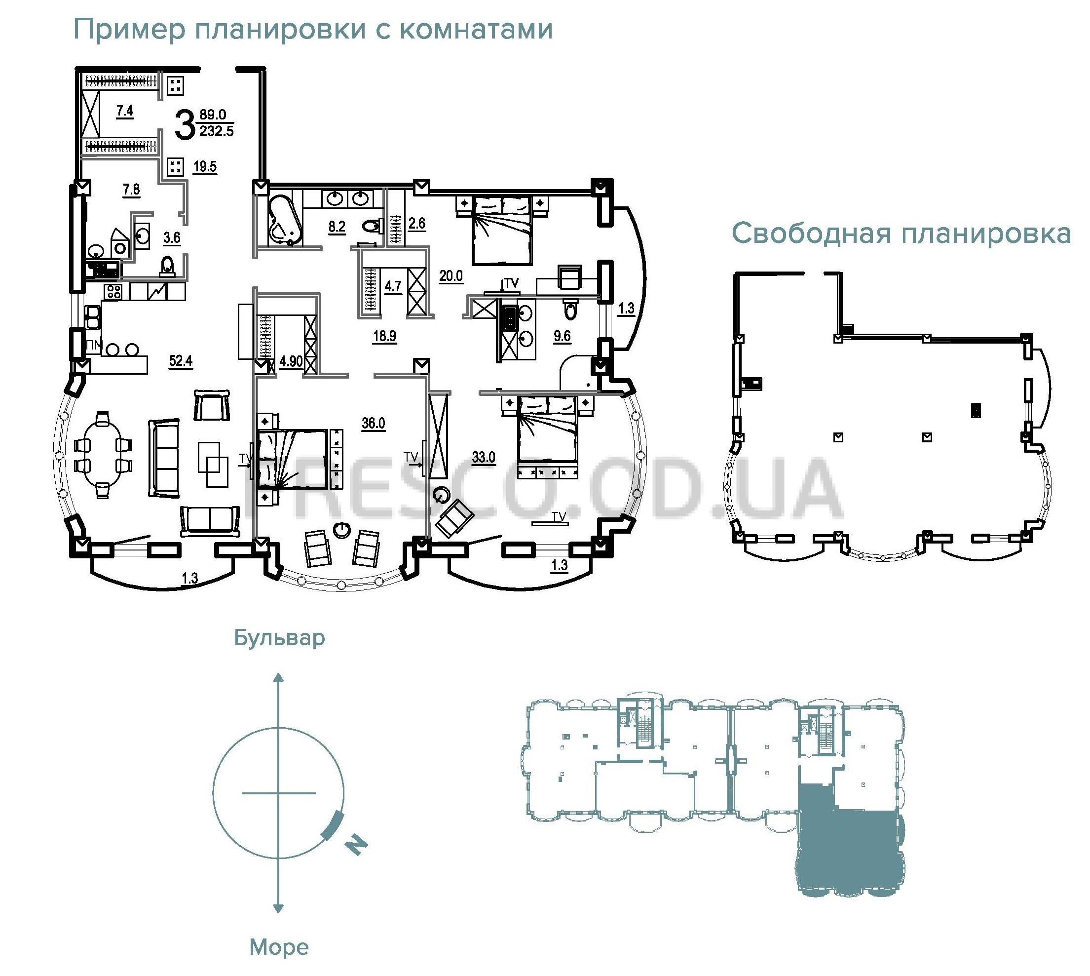 Трехкомнатная - Клубный Дом BIARRITZ (Биарриц)$418500Площадь:232,5m²