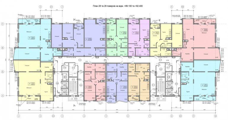 Олимпийский Комплекс апартаментов план 28-29 этажа