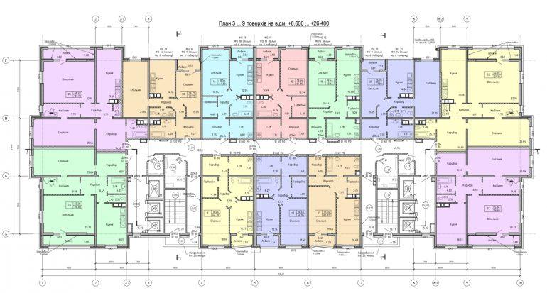Олимпийский Комплекс апартаментов план 3-9 этажа