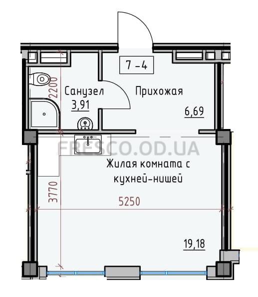 Однокомнатная - Пространство на Донского$35037Площадь:31,87m²