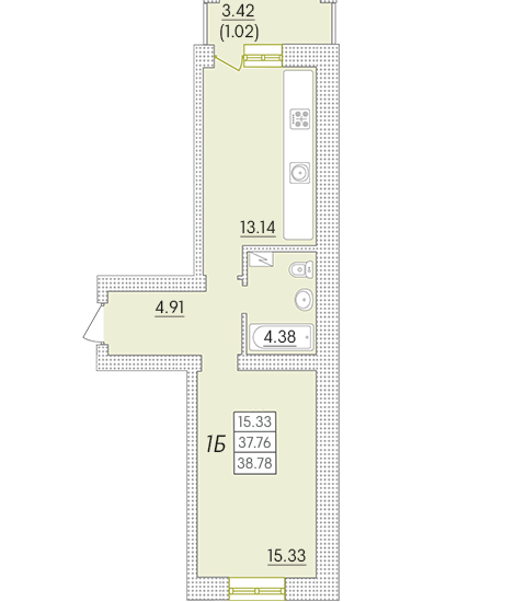 Однокомнатная - ЖК Парк Совиньон$28697Площадь:38,78m²