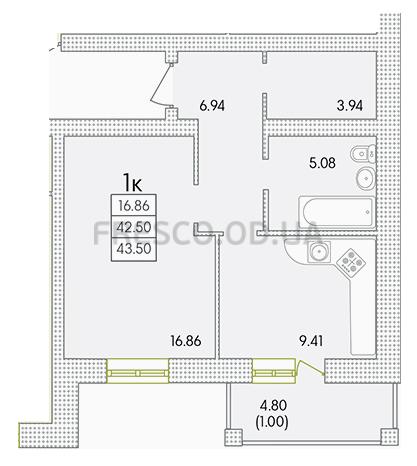 Однокомнатная - ЖК Парк Совиньон$36627Площадь:43,09m²