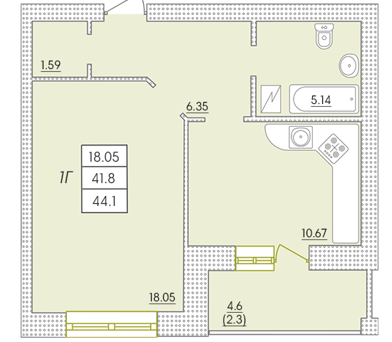 Однокомнатная - ЖК Парк Совиньон$33957Площадь:44,1m²