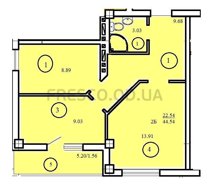 Двухкомнатная - ЖК Одесский двор$26500Площадь:44,54m²