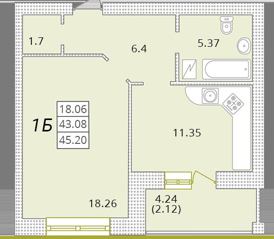 Однокомнатная - ЖК Парк Совиньон$35011Площадь:44,6m²