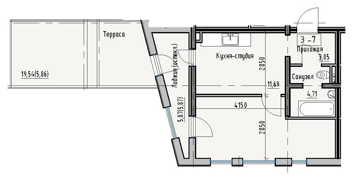 Однокомнатная - Пространство на Раскидайловской$35723Площадь:47,63m²