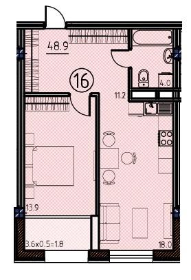 Однокомнатная - ЖК Клубный дом Бецалель (Bezalel)ПроданаПлощадь:48,9m²