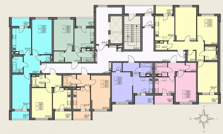 ЖК Одесские традиции 4 дом 3 секция план типового этажа