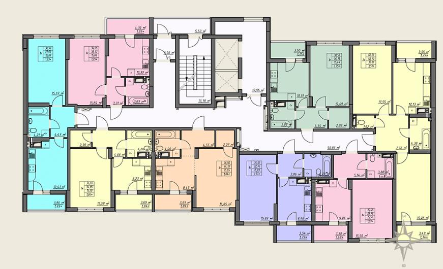ЖК Одесские традиции 4 дом 4 секция план типового этажа