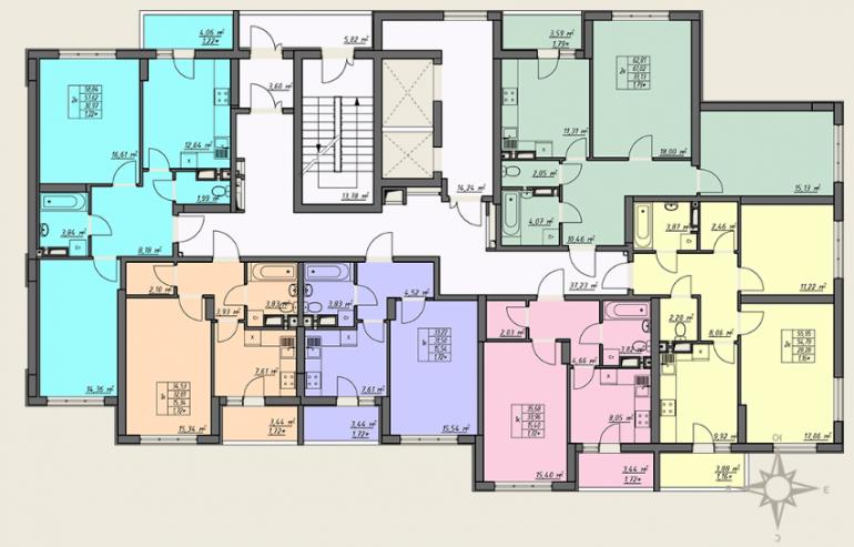 ЖК Одесские традиции 4 дом 7 секция план типового этажа