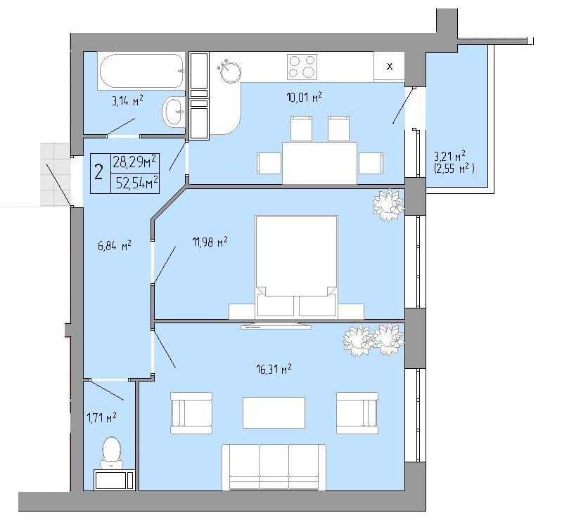 Двухкомнатная - ЖК Акварель 3 на Пишоновской$31524Площадь:52,54m²