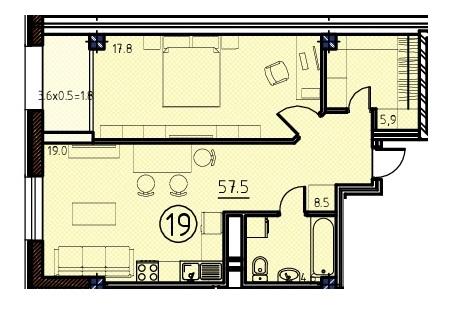 Однокомнатная - ЖК Клубный дом Бецалель (Bezalel)ПроданаПлощадь:57,5m²