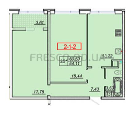 Двухкомнатная - ЖК 21 Жемчужина$40025Площадь:65,4m²