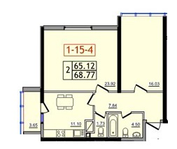 Двухкомнатная - ЖК 30 ЖемчужинаПроданаПлощадь:67,8m²