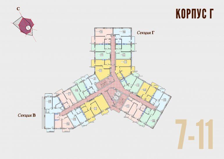 ЖК Континент Секция Г план 7-11 этажа