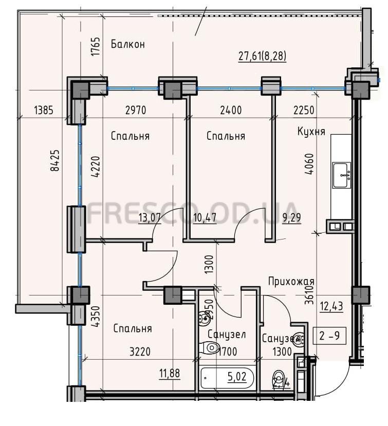 Трехкомнатная - Пространство на Донского$64587Площадь:72,57m²