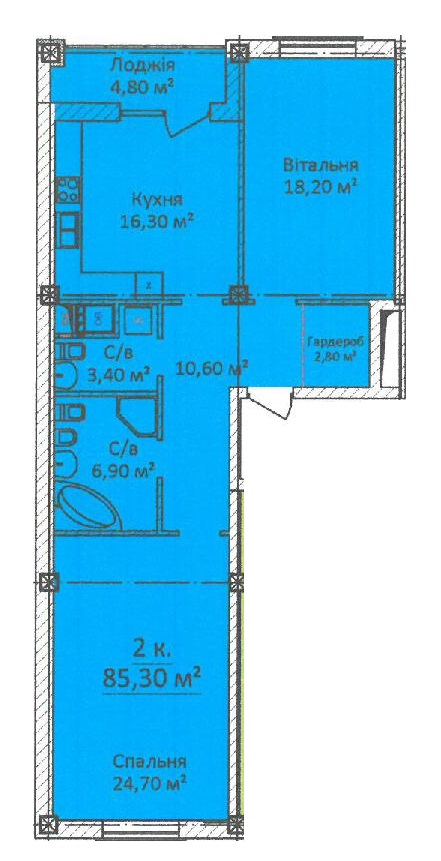 Двухкомнатная - ЖК Дом на Еврейской, 3 (Чайная фабрика Будова)ПроданаПлощадь:85,3m²